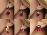Sparkly red black hematite crystal pierced dangle earrings fashion jewelry E41