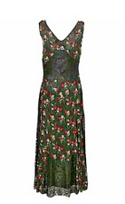 TOPSHOP KATE MOSS SPANISH BLACK LACE SILK FLORAL RED YELLOW MAXI DRESS 8 36 BNWT
