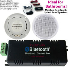 Bathroom Bluetooth Ceiling Speaker Kit -Wireless Amp & 2x 80W Moisture Resistant