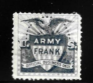 HICK GIRL-OLD MINT U.S. OFFICIAL TELEGRAPH STAMP  ARMY FRANK ( BLUE )      X9074