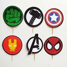 Marvel Avengers Cupcake Toppers Birthday Card Party Decor x6