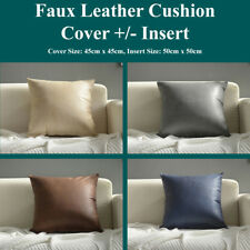 Faux Leather Cushion Covers +/- Insert Throw Scatter Pillow Cases Home Decor