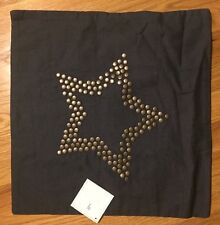 "Pottery Barn Kids Nailhead STAR 16"" Pillow Cover GRAY Studded"