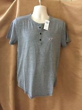 New Hollister Mens Grey Henley T-Shirt Top Size L. Gift