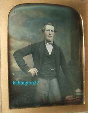 British Daguerreotype handsome standing Gentleman Victorian photograph portrait