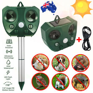 Solar Ultrasonic Pest Animal Repeller Motion Sensor Bird Rat Possum Repellent