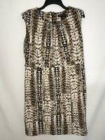 Dana Buchman Sleeveless Dress, Size 12, Brown and Cream