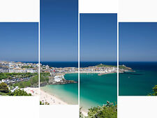 Large 4 Panel Set Wall Art Canvas Pictures St Ives Cornwall Beach Holiday Prints