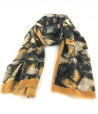 Zelly Mustard Hues Grey Black Muted Pattern Scarf Shawl Ladies Wrap Scarves New