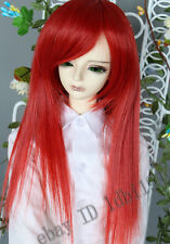 "7-8"" 1/4 BJD Wig Dal  BJD SD LUTS DOD DD Dollfie Doll Wig Red Long hair"