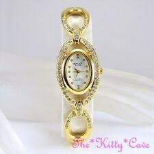 OMAX Unusual Gold & White Seiko Movt Marquise Watch w/ Swarovski Crystals JES590