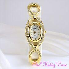 OMAX Selten Gold & Weiß Seiko Automatik  Marquise Armbanduhr mitSwarovski Strass
