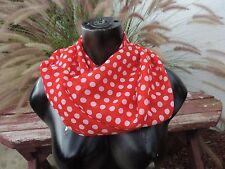 red white polka dot print circle loop infinity scarf chiffon retro pin up