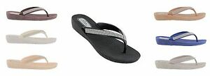 Ella Womens S1 Low Wedge Toe Post Flip Flop Sandals.