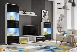LIPPY 3 - WALL UNIT, LED LIGHTENING, GLASS DOORS, WHITE & BLACK. FAST DELIVERY