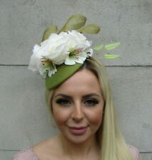 Moss Olive Green Cream Lily Rose Feather Hat Fascinator Floral Headpiece 0742