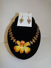 Gold Fill Wire Gold Freshwater Pearls & Crystal Flower Necklace Earring Set