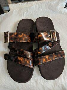 Vionic Skylar Tortoise Brown Adjustable Strap Slide Sandals Size 9