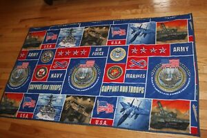 """Hand Made Patriotic USA Military Throw  ARMY  AIR FORCE NAVY MARINES 36"""" X 58"""""""