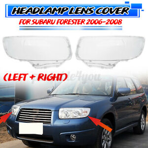 Left + Right Clear Headlight Front Lamp Lens Cover For Subaru Forester 2006-2008