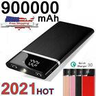 900000mAh Power Bank 2 USB Portable Fast Charger External Backup Battery Pack