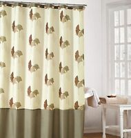 Earthy Cream Color Fabric Shower Curtain with Brown and Taupe Gingko Leaf Design