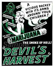 Vintage Devil's récolte Marijuana Fumée DE L'ENFER Affiche de Cinéma Imprimer A3