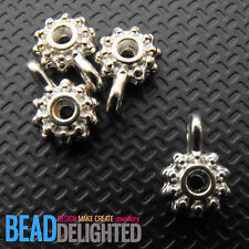 20 Silver Daisy Charms Round Flower Snowflake Spacer Beads With Loop 12mm