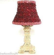 NEW RED ROSE FLOWER LAMP STYLE SHADE CANDLE+VINTAGE BEIGE STAND,HOLDER-87061