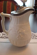"Minton England antique Bisque covered pitcher Jug, Gravy Jug, 8"" tall [*1]"