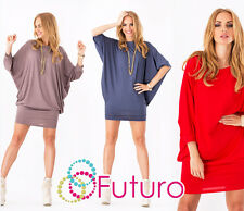 Womens Mini Dress Batwing Boat Neck Long Sleeve Tunic Shift Dress Size 8-18 8997