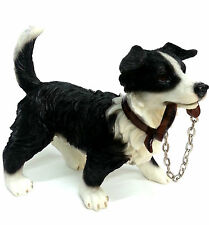 Collie Dog with Chain Ornament Figurine Brand New Boxed