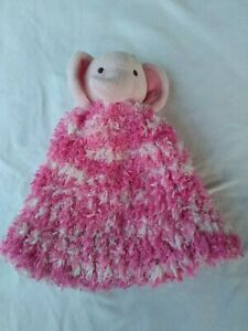 Kids Hand Knitted Soft Beanie Pink White With Plush Elephant On Top with Tail