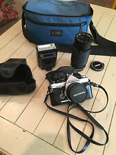 Olympus OM-2 35mm SLR Film Camera with 50 mm lens Kit with zoom lens