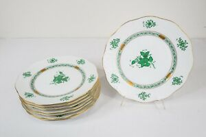 """Herend Hungary Chinese Bouquet Green 519 Salad Plates Set of 8- 8 1/8"""" FREE SHIP"""
