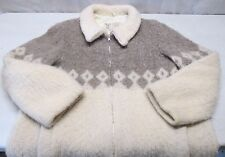 Vintage Hilda Ltd Icelandic Wool Coat Jacket Size Large L Ladies Fuzzy Warm Zip