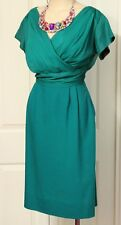 1950s Vintage Dress Green Cocktail Silk Wool 36-28-38 Evening Size 10 Retro
