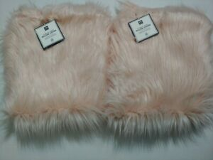 Pottery Barn Teen Furrific Fur Pillow Cover Himalayan Blush Euro S/2 NWT