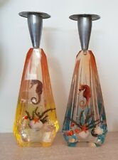 More details for unusual vintage 1950s/60s pair of paperweight candlesticks lucite seascape