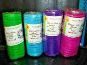 """LOT OF 4 Floral Garden Decorative  Mesh 6"""" BY 5 yd Purple,PINK,BLUE,GREEN-NEW"""