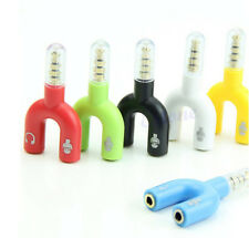 3.5mm Audio Jack to Headphone Microphone Splitter Converter Adaptor Mobile Tab 1