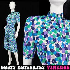 Vintage 80s 90s Secretary Dress Geometric Print Pleated Shoulder Pads Midi L