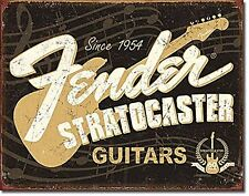 Fender Stratocaster 60th Anniversary Guitar Distressed Retro Metal Tin Sign New