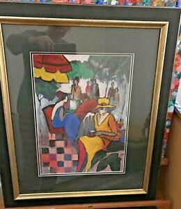 "Gorgeous Charla McAlpine Framed Australian Art ""Lady Day Fair"" 60x80 Oil Crayon"