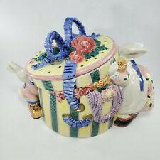 Fitz & Floyd Cotton Tailors Hat Bow Box Cookie Jar Rabbit Bunnies 1995 Retired