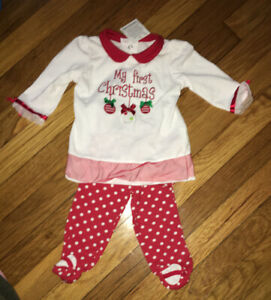 Girls 3-6 Months First Christmas Outfit Red White Top Pants Okie Dokie