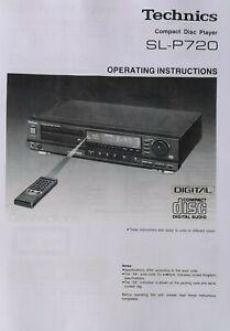 Technics SL-P720 Compact Disc CD Player - Operating Instructions - USER MANUAL