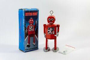 St. John Replica Retro Clockwork Wind Up 14.5cm Walking Tin Toy Red Robot