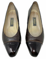 Bally Brown/Black Real Leather Heeled Court Shoes Smart Work Business (4.5 UK)