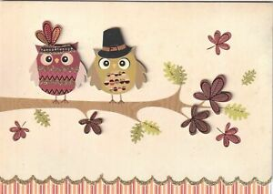 """Papyrus Thanksgiving Card - """"Love to you"""" - Owls in Pilgrim Costume on Branch"""